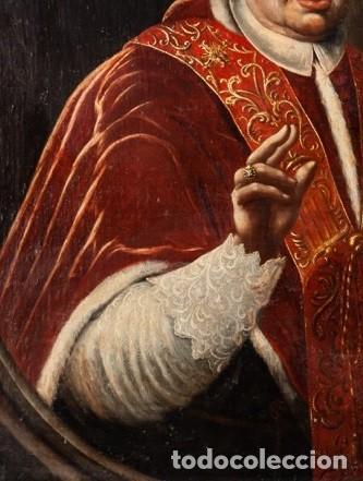Arte: Escuela Italiana. Siglo XVIII. Retrato de Papa Benedito XIV. Oleo sobre lienzo - Foto 4 - 169556752