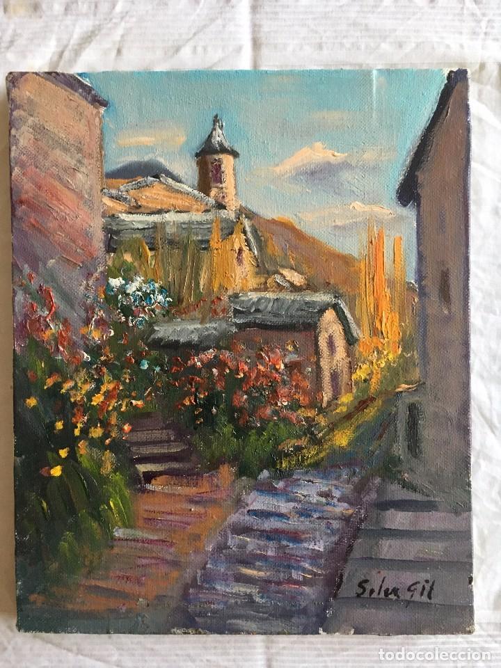JOAN SOLER GIL, LLADROS-PALLARS JUSSA-LLEIDA 3-FIGURA 17X22 CM (Arte - Pintura - Pintura al Óleo Contemporánea )