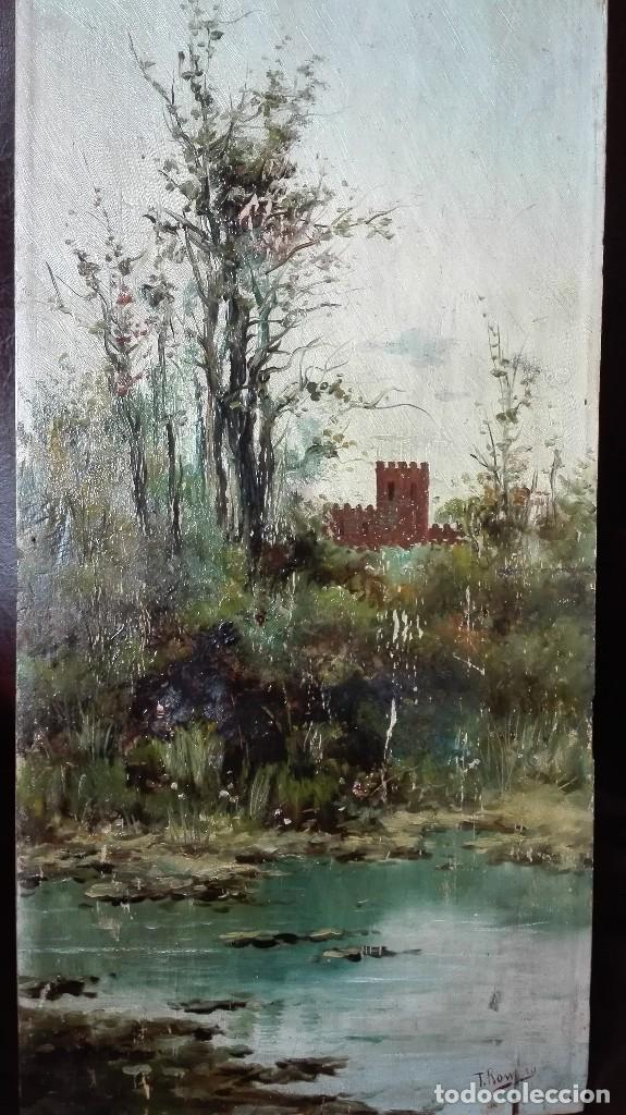 Arte: Paisaje sevillano siglo 19 óleo sobre tabla firmado - Foto 2 - 169651304
