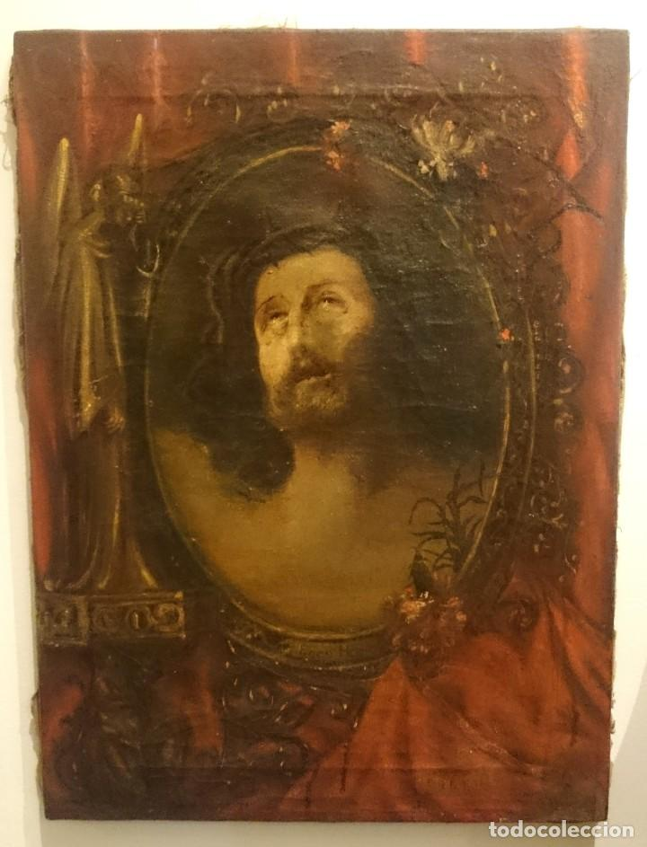 Arte: Antiguo Ecce Homo, óleo sobre lienzo con ángel de la guarda. Siglo XVII. Masónico. 50x37cm - Foto 2 - 169095336