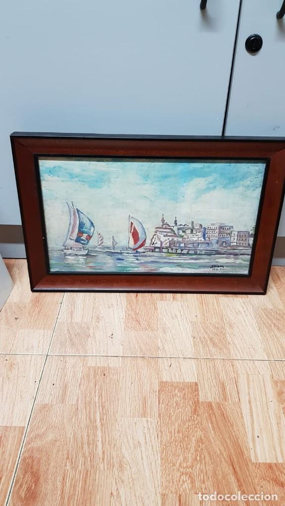 Arte: Cuadro Marina en óleo sobre tabla J. Vidal - Foto 3 - 169753124