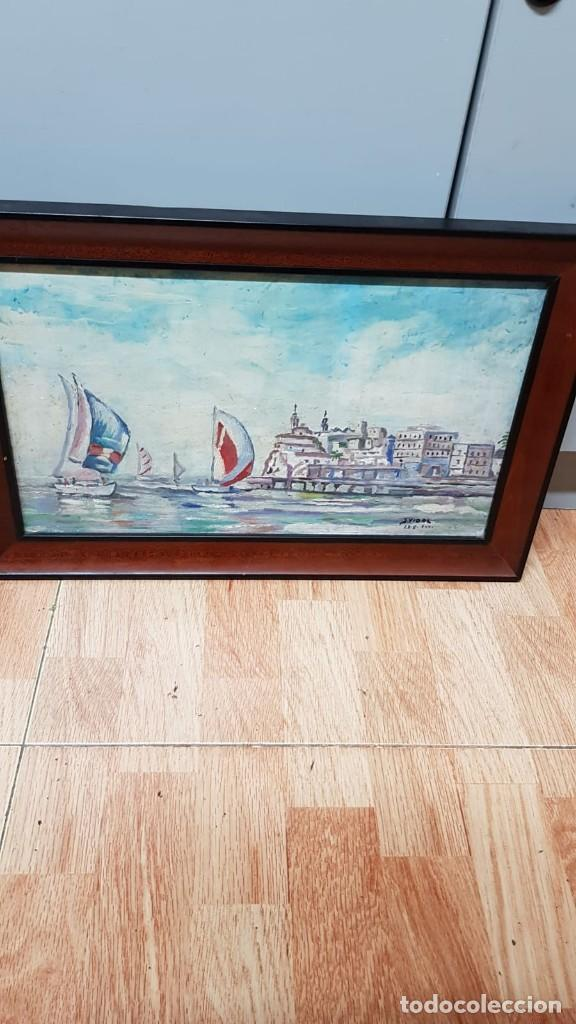 Arte: Cuadro Marina en óleo sobre tabla J. Vidal - Foto 5 - 169753124