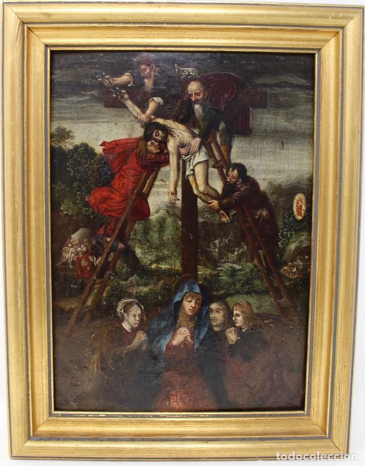DESCENDIMIENTO DE LA CRUZ- ÓLEO SOBRE TABLA- ESCUELA FLAMENCA- S XVI (Arte - Pintura - Pintura al Óleo Antigua siglo XVI)