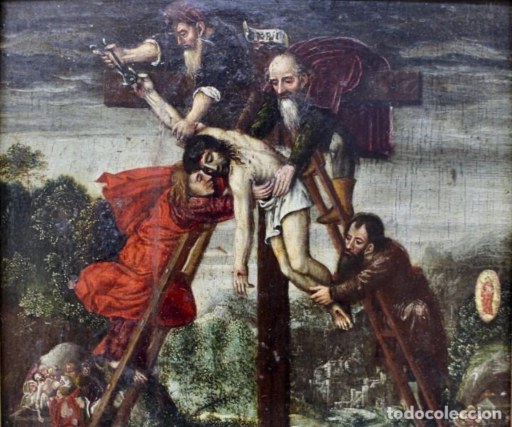 Arte: DESCENDIMIENTO DE LA CRUZ- ÓLEO SOBRE TABLA- ESCUELA FLAMENCA- S XVI - Foto 3 - 169886184