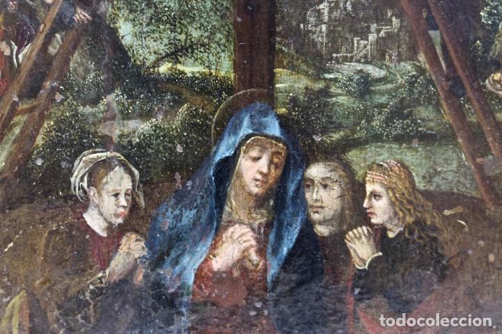 Arte: DESCENDIMIENTO DE LA CRUZ- ÓLEO SOBRE TABLA- ESCUELA FLAMENCA- S XVI - Foto 4 - 169886184