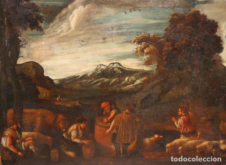 ESCUELA DE LOS BASSANO DEL SIGLO XVII. OLEO SOBRE LIENZO. ESCENA CAMPESTRE (Arte - Pintura - Pintura al Óleo Antigua siglo XVII)
