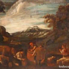 Arte: ESCUELA DE LOS BASSANO DEL SIGLO XVII. OLEO SOBRE LIENZO. ESCENA CAMPESTRE. Lote 169888372