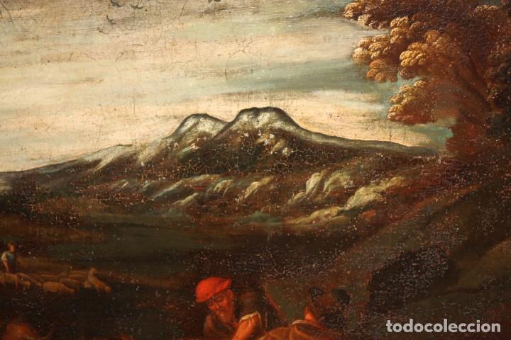 Arte: ESCUELA DE LOS BASSANO DEL SIGLO XVII. OLEO SOBRE LIENZO. ESCENA CAMPESTRE - Foto 3 - 169888372