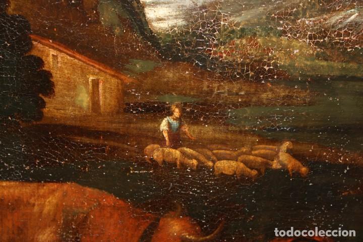 Arte: ESCUELA DE LOS BASSANO DEL SIGLO XVII. OLEO SOBRE LIENZO. ESCENA CAMPESTRE - Foto 4 - 169888372