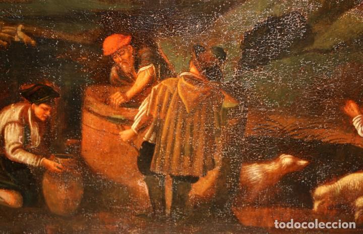 Arte: ESCUELA DE LOS BASSANO DEL SIGLO XVII. OLEO SOBRE LIENZO. ESCENA CAMPESTRE - Foto 8 - 169888372