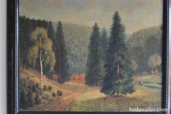 Arte: PRECIOSO ÓLEO SOBRE LIENZO - PAISAJE - BOSQUE - ESCUELA CENTROEUROPEA - FIRMADO SKOLLE - 1922 - Foto 4 - 169929672