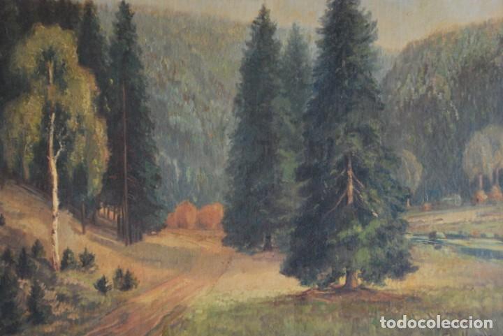 Arte: PRECIOSO ÓLEO SOBRE LIENZO - PAISAJE - BOSQUE - ESCUELA CENTROEUROPEA - FIRMADO SKOLLE - 1922 - Foto 5 - 169929672