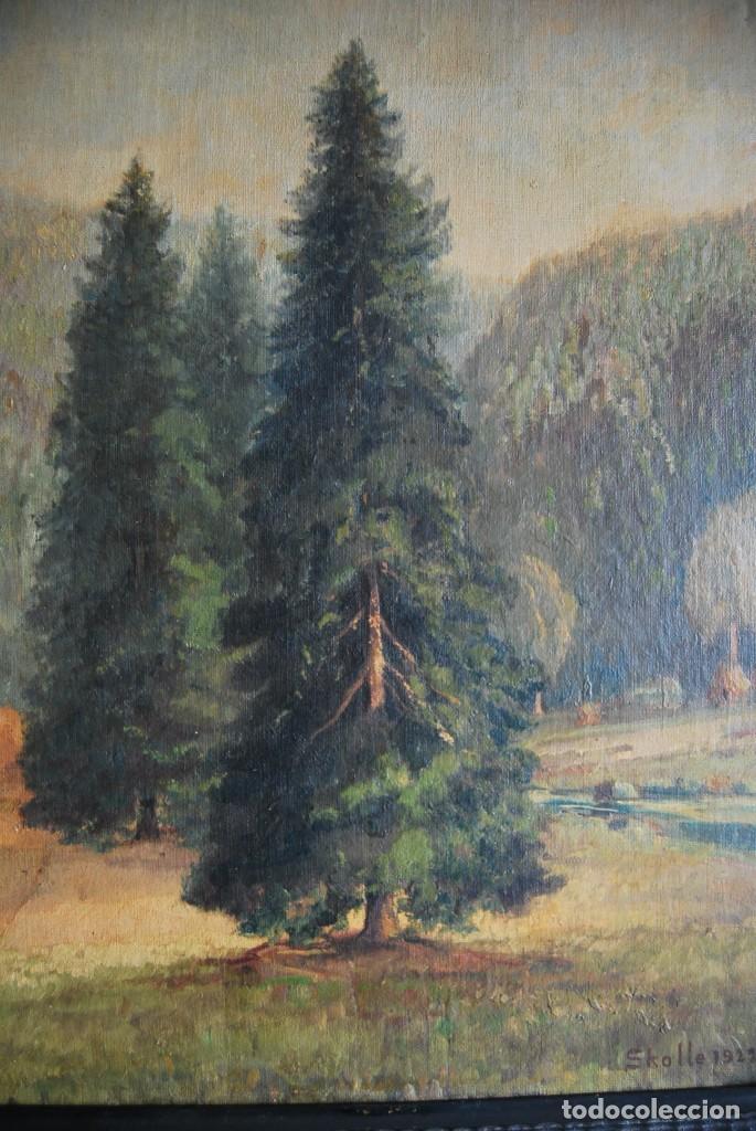 Arte: PRECIOSO ÓLEO SOBRE LIENZO - PAISAJE - BOSQUE - ESCUELA CENTROEUROPEA - FIRMADO SKOLLE - 1922 - Foto 8 - 169929672