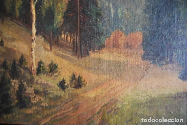 Arte: PRECIOSO ÓLEO SOBRE LIENZO - PAISAJE - BOSQUE - ESCUELA CENTROEUROPEA - FIRMADO SKOLLE - 1922 - Foto 9 - 169929672