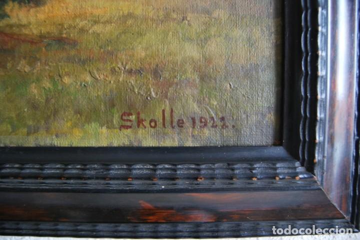 Arte: PRECIOSO ÓLEO SOBRE LIENZO - PAISAJE - BOSQUE - ESCUELA CENTROEUROPEA - FIRMADO SKOLLE - 1922 - Foto 10 - 169929672