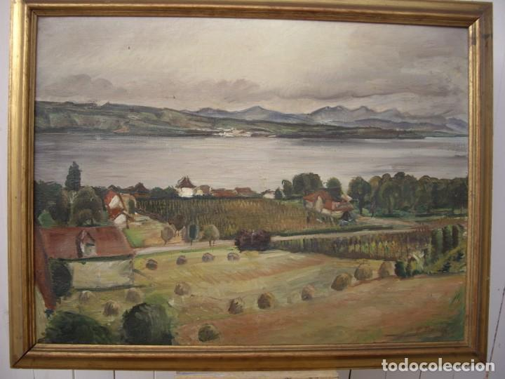 PINTURA AL OLEO ERNST DENZLER 1898-1996,BUEN TAMAÑO 80CM POR 60CM SIN MARCO (Arte - Pintura - Pintura al Óleo Moderna siglo XIX)