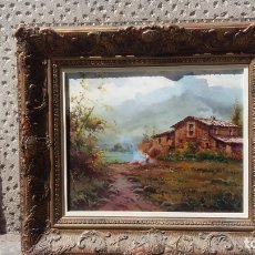 Arte: OLEO ORIGINAL DE SALVADOR CABALLERO (1943-2006) PAISAJE CASA RURAL. Lote 169985264