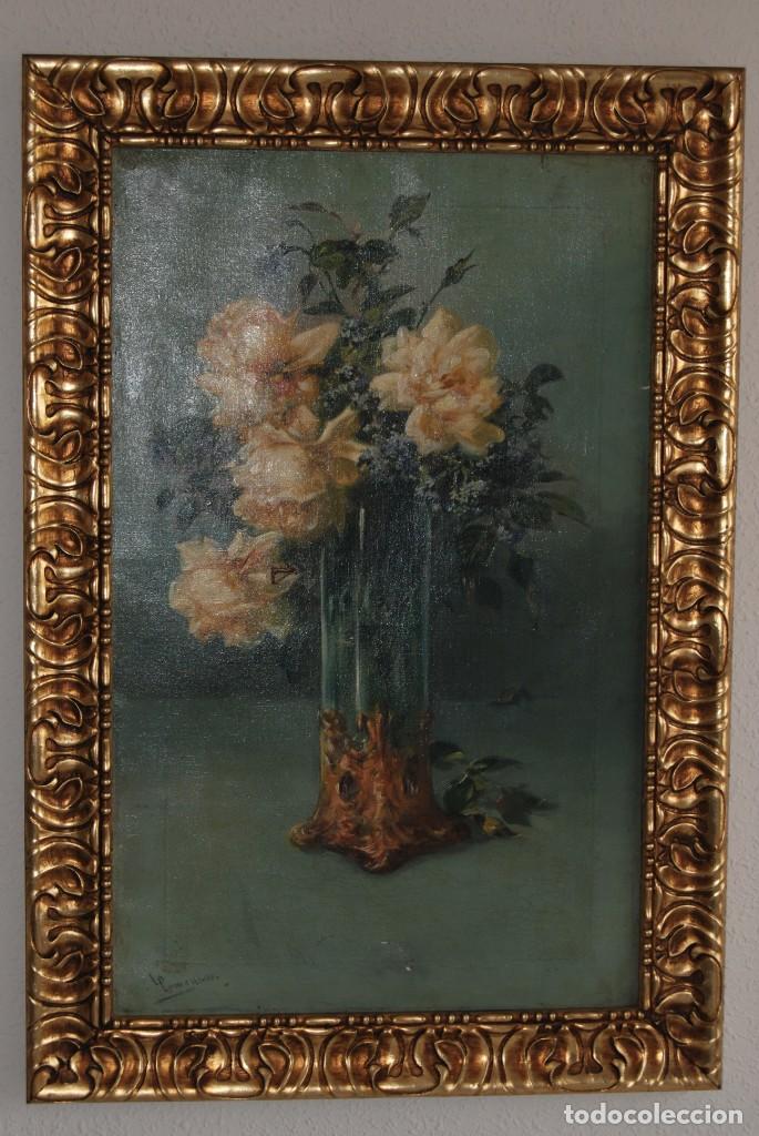 ÓLEO SOBRE LIENZO - FERNANDO GARCÍA CAMOYANO - JARRÓN CON FLORES - ROSAS - CIRCA 1900 (Arte - Pintura - Pintura al Óleo Moderna siglo XIX)