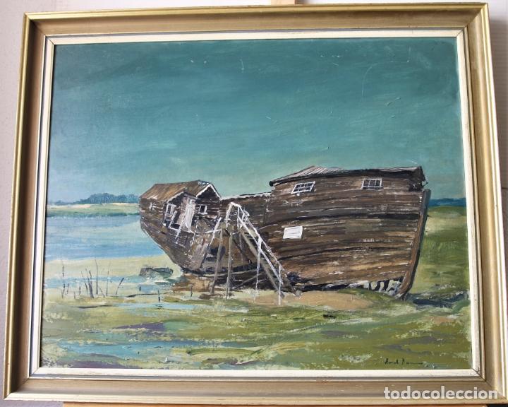 ANTIGUO OLEO CON MARCO FIRMADO (Arte - Pintura - Pintura al Óleo Contemporánea )