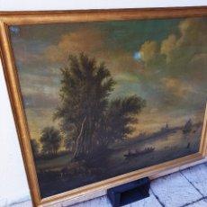 Arte: PAISAJE COSTERO DEL SIGLO XIX, OLEO/LIENZO, CON FIRMA ILEGIBLE, MARCO DORADO. Lote 131561487