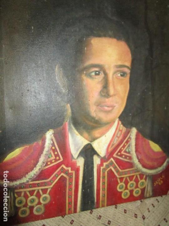 JOSE MARIA MANZANARES TORERO OLEO PINTURA ANTIGUA FIRMA J ESPLA ARTISTA DE HOGUERAS DE ALICANTE (Arte - Pintura - Pintura al Óleo Antigua sin fecha definida)