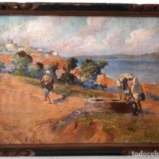 Arte: AGUADORES EN MARRUECOS.PINTURA ORIENTALISTA. ÓLEO SOBRE LIENZO SIGLO XIX FIRMADO. Lote 170330268