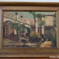 Arte: CUADRO ANTIGUA PINTURA OLEO SOBRE MADERA FIRMADO BERMUDEZ GIL – CON MARCO 52 X 39 CM. Lote 170513132