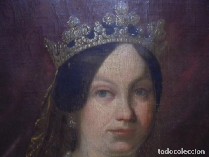 Arte: magnifico antiguo retrato de Isabel II del siglo XIX oleo sobre lienzo,salida 1 euro - Foto 2 - 170576200