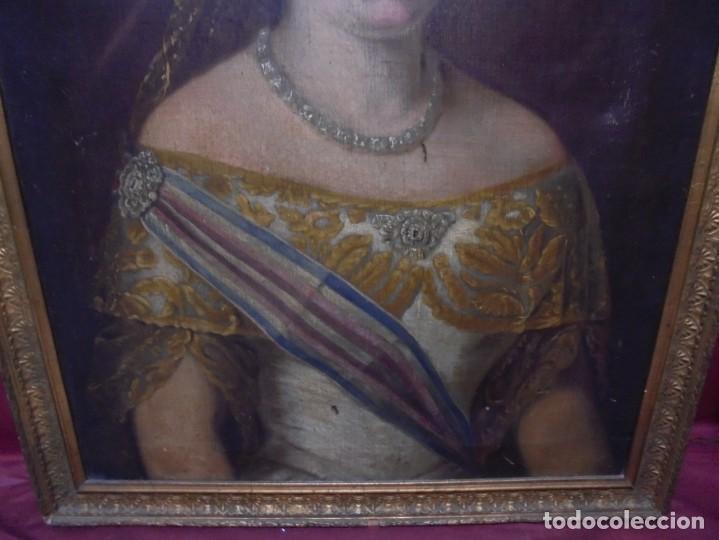 Arte: magnifico antiguo retrato de Isabel II del siglo XIX oleo sobre lienzo,salida 1 euro - Foto 3 - 170576200