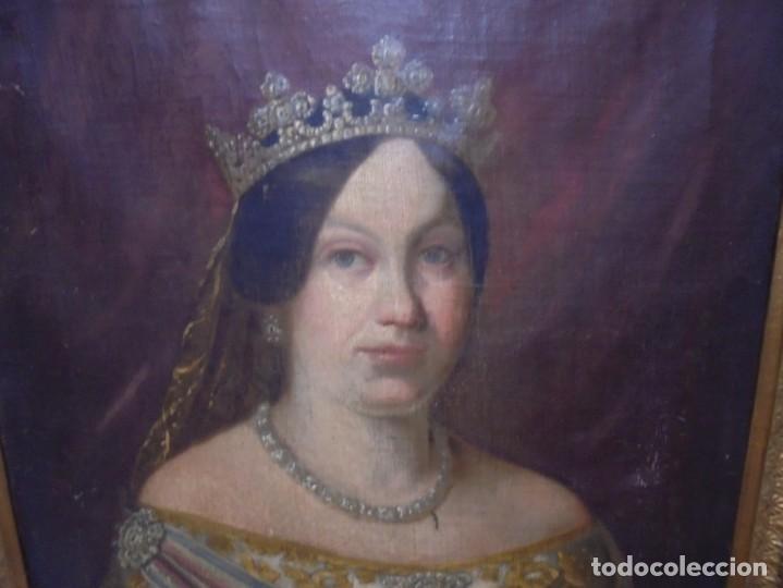 Arte: magnifico antiguo retrato de Isabel II del siglo XIX oleo sobre lienzo,salida 1 euro - Foto 4 - 170576200