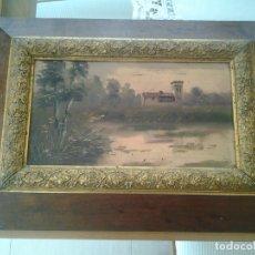 Arte: ANTIGUO CUDRO PINTADO A OLEO SIGLO XVIII MARCO 49X35 CMTS PINTURA 31X17 CMTS. Lote 170854565