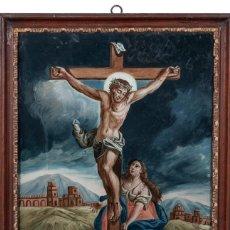 Arte: ÓLEO BAJO CRISTAL -CALVARIO, CON MAGDALENA Y CRUCIFICADO-. ESCUELA ITALIANA XVIII. DIM.- 39X33 CMS. Lote 170890475