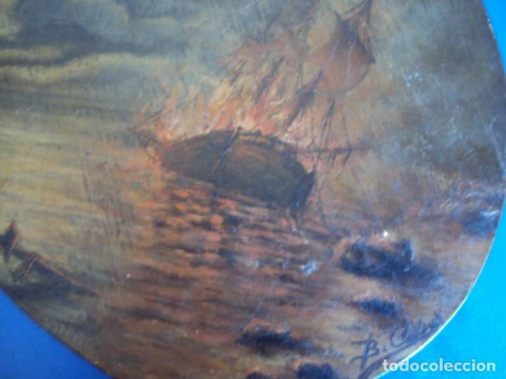 Arte: (ANT-170903)PINTURA AL OLEO SOBRE PALETA DE BARCO EN LLAMAS - Foto 3 - 170916280