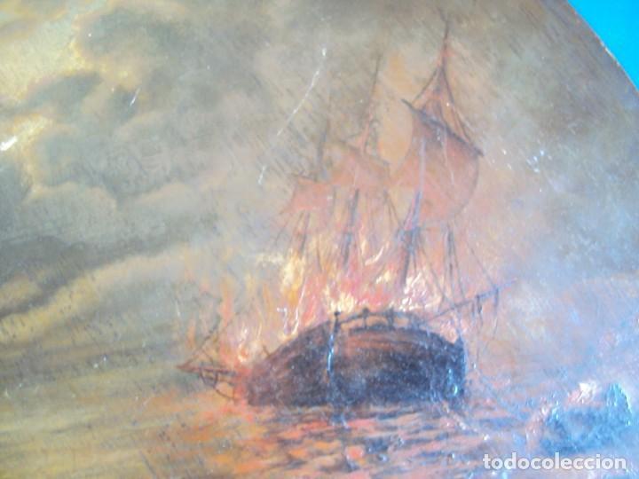 Arte: (ANT-170903)PINTURA AL OLEO SOBRE PALETA DE BARCO EN LLAMAS - Foto 5 - 170916280