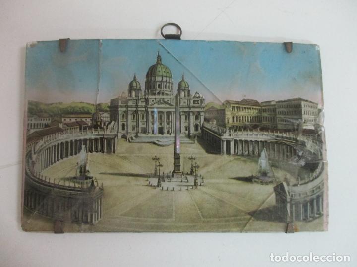 Arte: Curiosa Postal - Plaza San Pedro, Roma -Antiguo Cristal Pintado -Aplicaciones de Nácar -S. XVIII-XIX - Foto 2 - 171031439