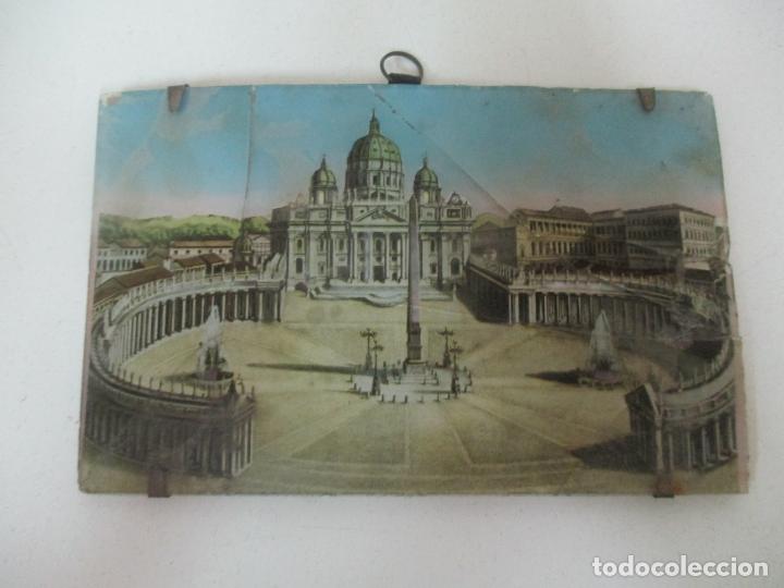 Arte: Curiosa Postal - Plaza San Pedro, Roma -Antiguo Cristal Pintado -Aplicaciones de Nácar -S. XVIII-XIX - Foto 5 - 171031439
