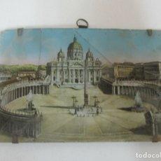 Arte: CURIOSA POSTAL - PLAZA SAN PEDRO, ROMA -ANTIGUO CRISTAL PINTADO -APLICACIONES DE NÁCAR -S. XVIII-XIX. Lote 171031439