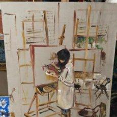 Arte: NIÑA PINTANDO EN SU ESTUDIO, FIRMADO. Lote 171058813