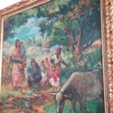 Arte: EXTRAORDINARIO CUADRO AL ÓLEO DEL PINTOR CATALÁN PERE CREIXAMS PICO. CAMPAMENTO DE GITANOS.. Lote 171191807