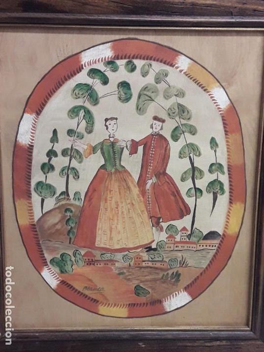 Arte: Bello cuadro pintura sobre madera naif firmado Blanca enmarcado - Foto 2 - 171192359
