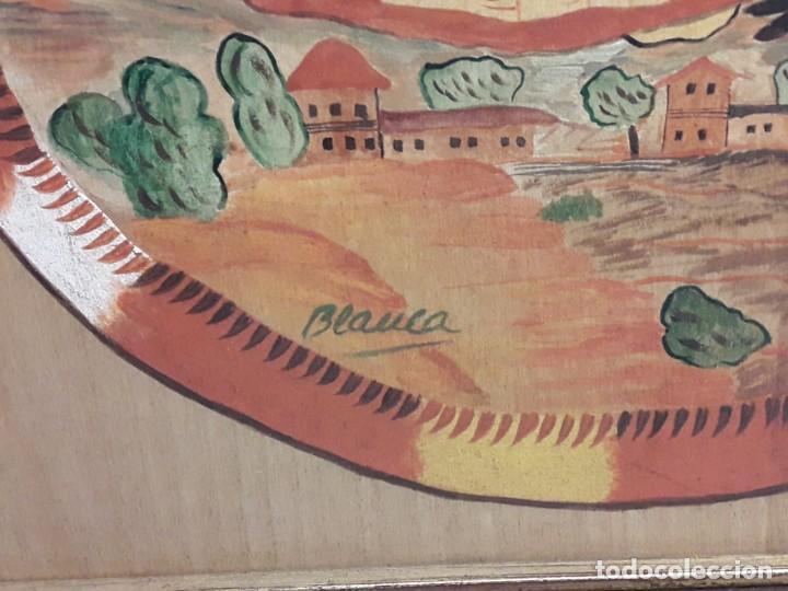Arte: Bello cuadro pintura sobre madera naif firmado Blanca enmarcado - Foto 4 - 171192359