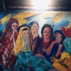Arte: OLEO LIENZO ORIENTALISTA MUJERES ARABES SENTADAS COLORIDO AÑOS 70 80 FIRMA L. MOVEVA 81X100CMS. Lote 171198053