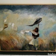Arte: CUADRO EL LIENZO GRANDE NIÑA COMETA IMPRESIONISMO. Lote 171280453