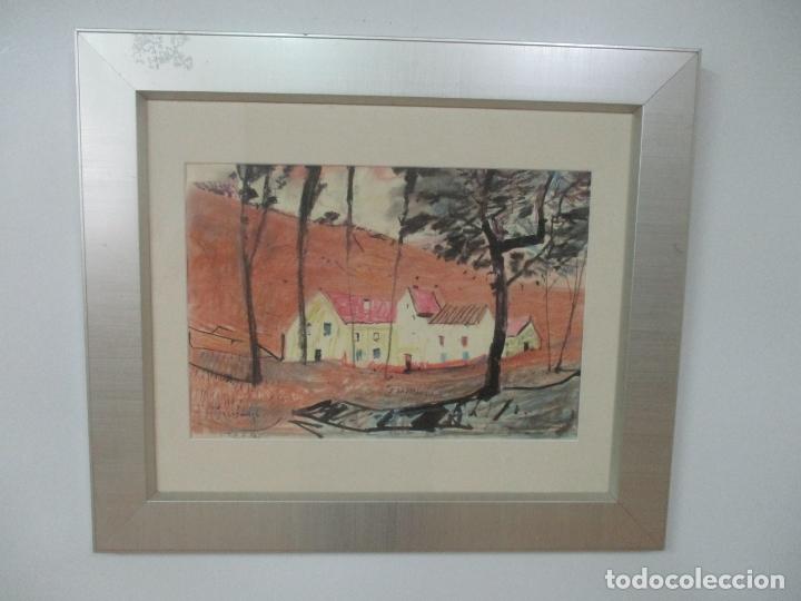 Arte: Pere Gussinyé y Gironella , (Olot, 1890-1980) - Bonito Pastel - Paisaje - Foto 8 - 171295039