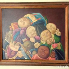 Arte: BUENA COPIA DEL CUADRO. OBISPOS MUERTOS DE FERNANDO BOTERO. ACRÍLICO SOBRE LIENZO.NO ES ÓLEO.. Lote 171407815