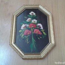 Arte: OLEO -- RAMO DE FLORES -- MARCO OCTOGONAL DORADO -- AÑOS 60 -- TOSCANA-ITALIA. Lote 171410624