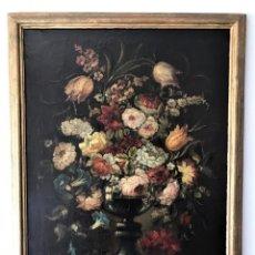 Arte: GRAN BODEGÓN DE JARRÓN CON FLORES. ÓLEO SOBRE LIENZO. ESCUELA ESPAÑOLA S XIX. Lote 171412037