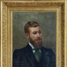 Arte: CABALLERO. ÓLEO SOBRE LIENZO. DEDICADO, FIRMADO (F. LLORET.) Y FECHADO (1897).. Lote 171412883