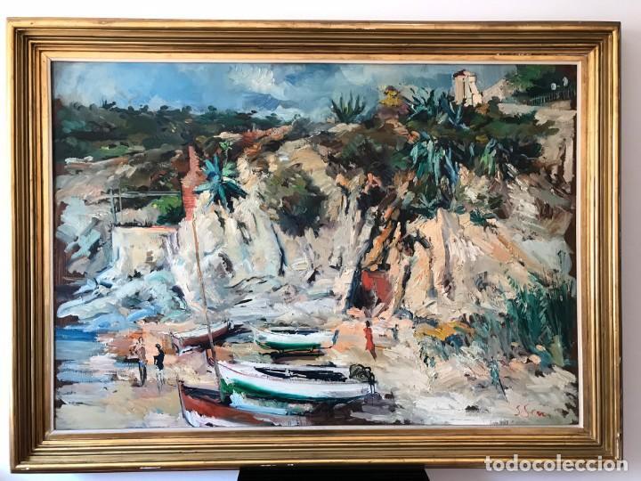 CALELLA DE PALAFRUGELL. JOAN SERRA MELGOSA. GRAN ÓLEO SOBRE LIENZO 117 X 83 CM (Arte - Pintura - Pintura al Óleo Contemporánea )