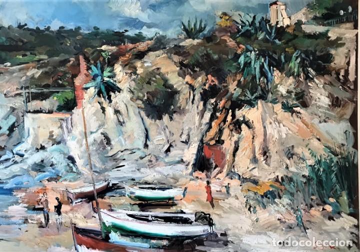Arte: Calella de Palafrugell. Joan Serra Melgosa. Gran óleo sobre lienzo 117 x 83 cm - Foto 2 - 171418923